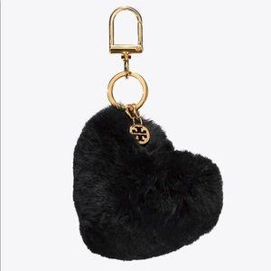 Tory Burch Fur Heart key fob